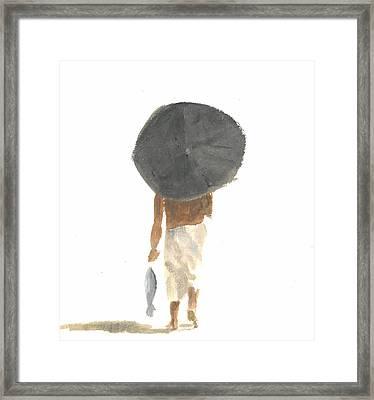 Umbrella And Fish Framed Print
