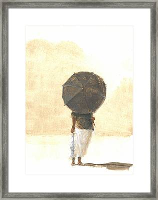 Umbrella And Fish Two Framed Print