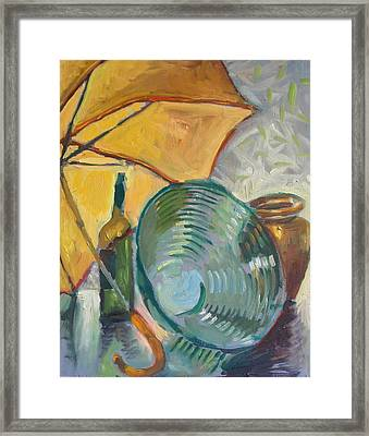Umbrella And The Bottle Framed Print by Piotr Antonow