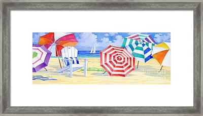 Umbrella Beach Framed Print