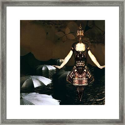 Framed Print featuring the digital art Umbrella Dance by Delight Worthyn