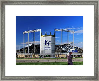Umbrella Man At Kauffman Stadium Framed Print