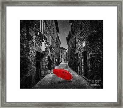 Umbrella On Dark Street In An Old Italian Town In Tuscany, Italy. Raining Framed Print