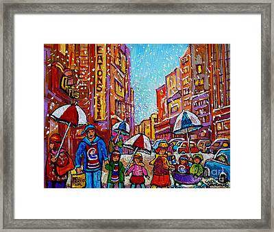 Umbrella Painting Snowy Rainy Day Rue St Catherine April Snow Showers Downtown Montreal Art        Framed Print by Carole Spandau