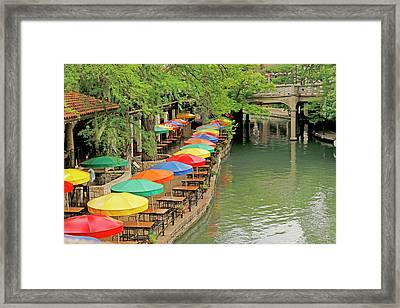 Umbrellas Along River Walk - San Antonio Framed Print by Art Block Collections