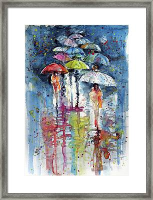 Umbrellas In Rain Framed Print by Kovacs Anna Brigitta