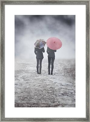 Umbrellas In The Mist Framed Print by Joana Kruse