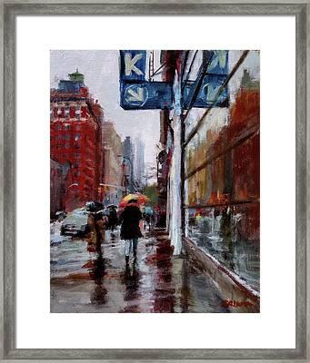 Umbrellas On Amsterdam Aveune Framed Print by Peter Salwen