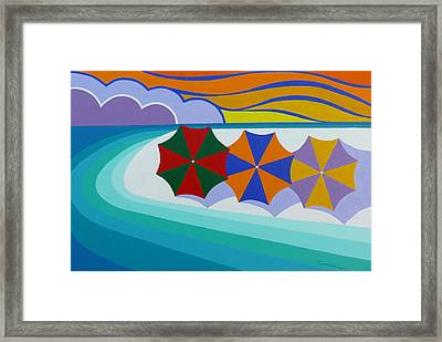 Umbrellas On The Beach Framed Print by James Cordasco