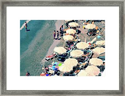 Framed Print featuring the photograph Umbrellas On The Beach - Nerja by Mary Machare