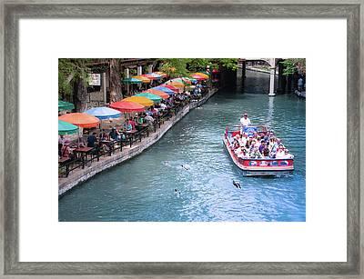 Umbrellas On The San Antonio Riverwalk - Paseo Del Rio - Texas Framed Print