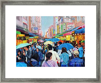 Umbrellas Up In Taiwan Framed Print