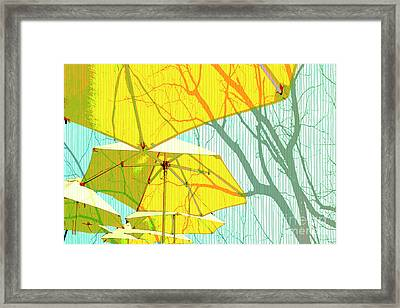 Umbrellas Yellow Framed Print