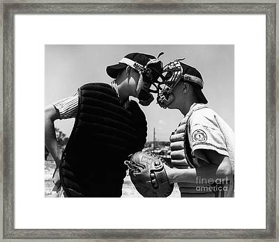 Umpire And Catcher Arguing, C.1950-60s Framed Print by H. Armstrong Roberts/ClassicStock