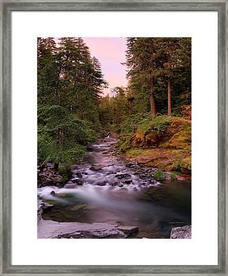 Umpqua River Sunset Framed Print by Leland D Howard