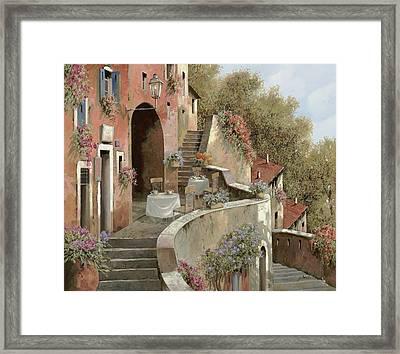 Un Caffe Al Fresco Sulla Salita Framed Print by Guido Borelli