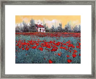 Un Campo Di Papaveri Framed Print by Guido Borelli