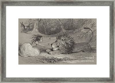Una And The Lion  Framed Print by Richard Doyle