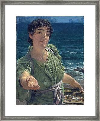 Una Carita Framed Print by Lawrence Alma-Tadema