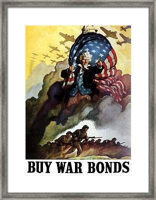 Uncle Sam - Buy War Bonds Framed Print by War Is Hell Store