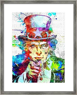 Uncle Sam Grunge Framed Print