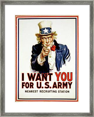 Uncle Sam -- I Want You Framed Print