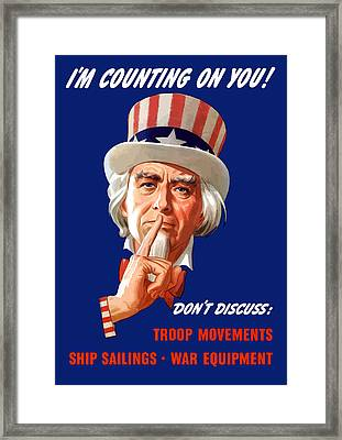 Uncle Sam - I'm Counting On You Framed Print by War Is Hell Store