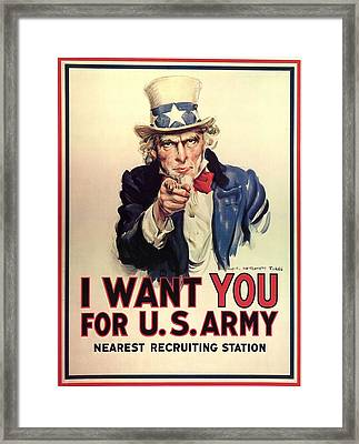 Uncle Sam Recruited Soldiers For World War Framed Print by MotionAge Designs