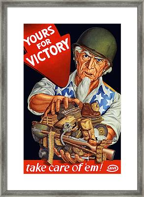 Uncle Sam - Yours For Victory Framed Print by War Is Hell Store