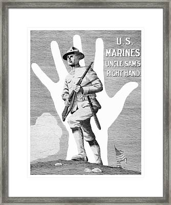 Uncle Sam's Right Hand - Us Marines Framed Print by War Is Hell Store