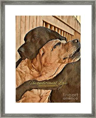 Framed Print featuring the digital art Unconditional Love by Kathy Tarochione