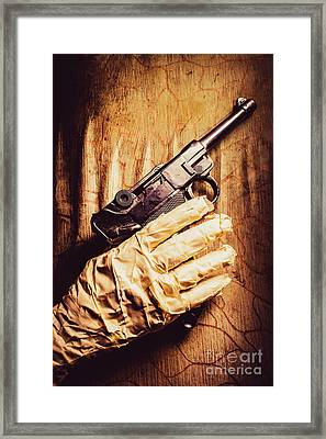 Undead Mummy  Holding Handgun Against Wooden Wall Framed Print