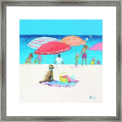 Under A Red Umbrella Framed Print