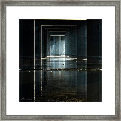 Under Clark Bridge Framed Print by Jae Mishra