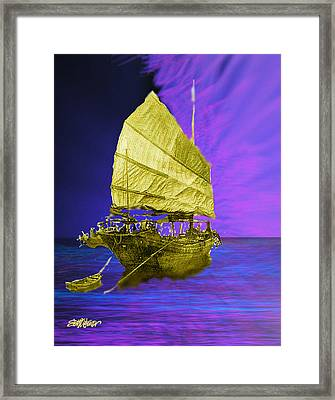Framed Print featuring the digital art Under Golden Sails by Seth Weaver