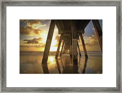 Framed Print featuring the photograph Under Johnny Mercer Pier At Sunrise by Phil Mancuso