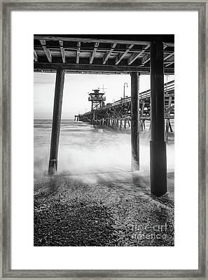 Under San Clemente Pier Black And White Photo Framed Print