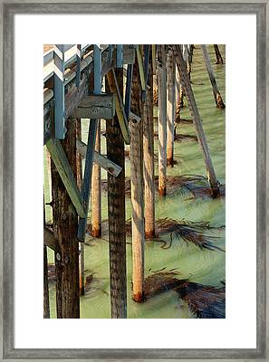 Framed Print featuring the photograph Under San Simeon Pier by Art Block Collections