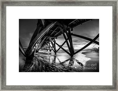 Under Sea Cabin Pier At Sunset Framed Print
