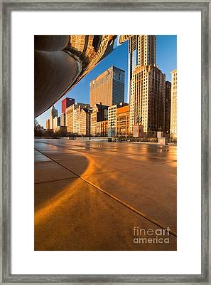 Under The Bean And Chicago Skyline At Sunrise Framed Print