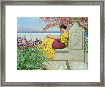 Under The Blossom That Hangs On The Bough Framed Print by John William Godward