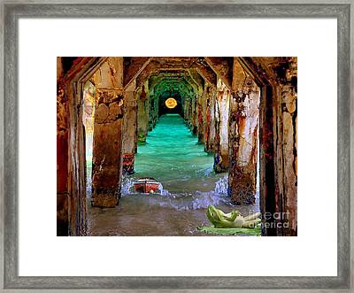 Framed Print featuring the painting Under The Broadwalk by Mojo Mendiola