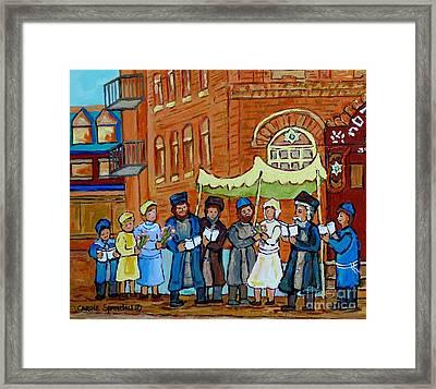 Under The Chupa Jewish Wedding Party Montreal Street Scene Bagg Synagogue Carole Spandau             Framed Print