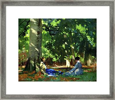 Under The Greenwood Tree Framed Print by George Henry