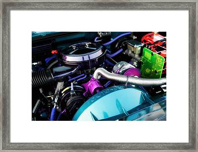 Under The Hood Of A Classic Car By Custom Kolor Framed Print by Anne Kitzman