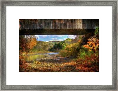 Under The Lincoln Covered Bridge - Woodstock, Vt. Framed Print by Joann Vitali