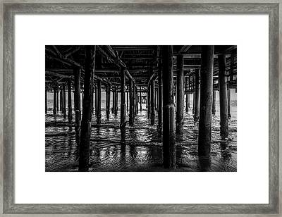 Under The Pier - Black And White Framed Print