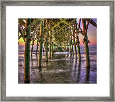 Under The Pier Folly Beach Pier Sunrise Folly Beach Pier Art Framed Print