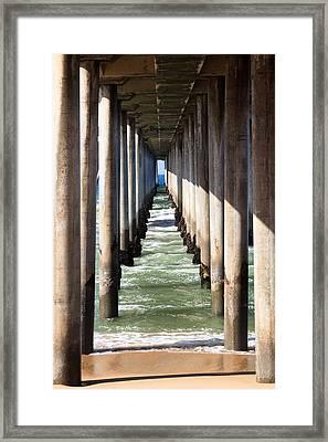 Under The Pier In Orange County California Framed Print by Paul Velgos