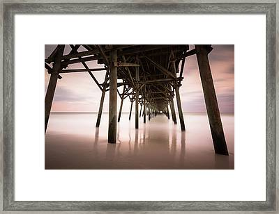 Under The Pier Sunset, Garden City Framed Print by Ivo Kerssemakers